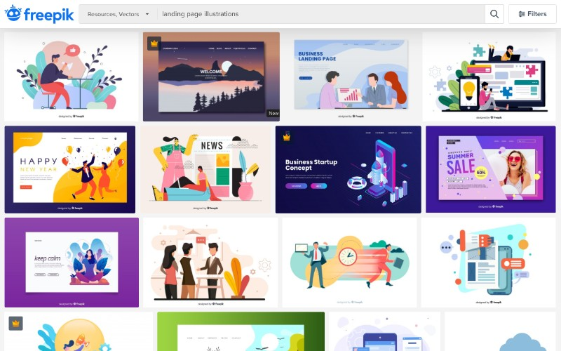 freepik free landing page illustrations
