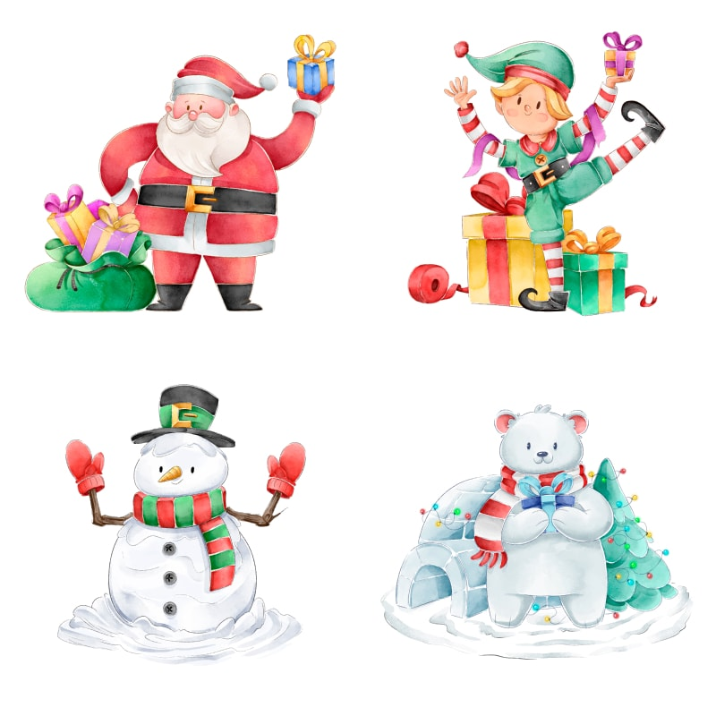 free watercolor christmas characters