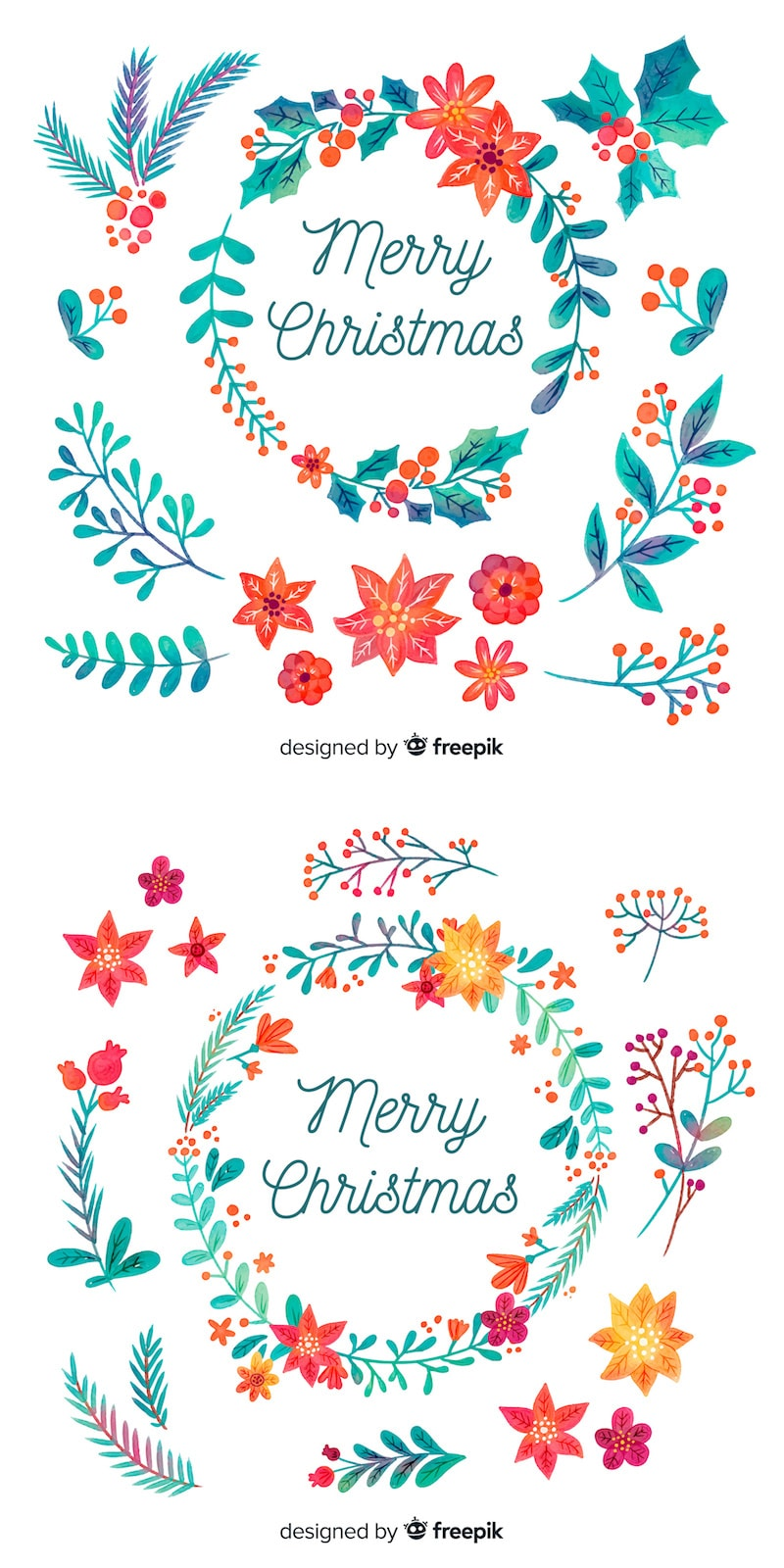 free watercolor christmas wreaths