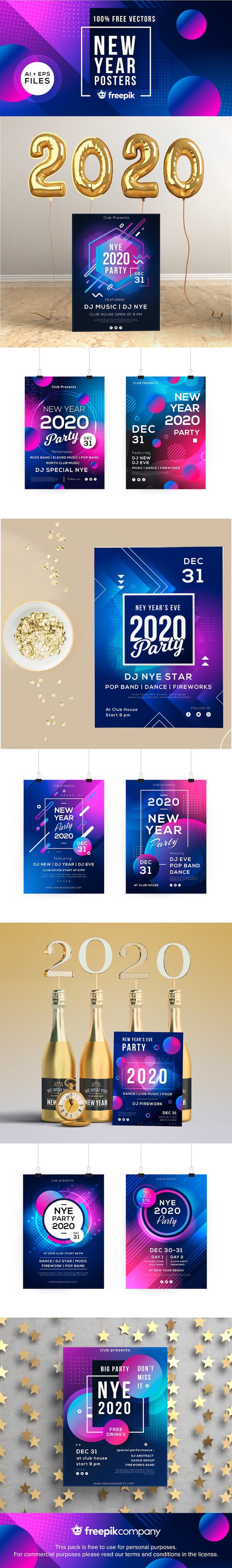 free new year poster templates ai
