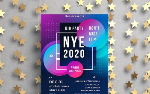 free new year poster templates vector