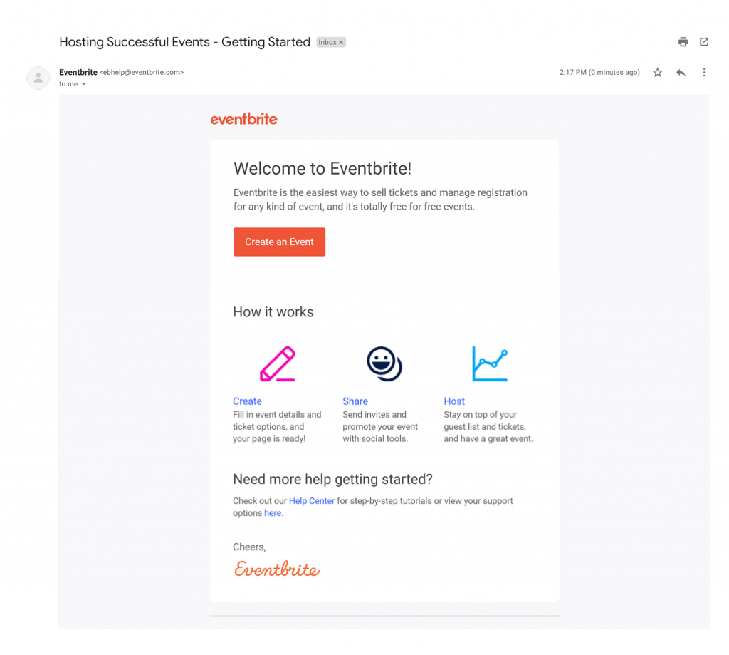 eventbrite getting started email