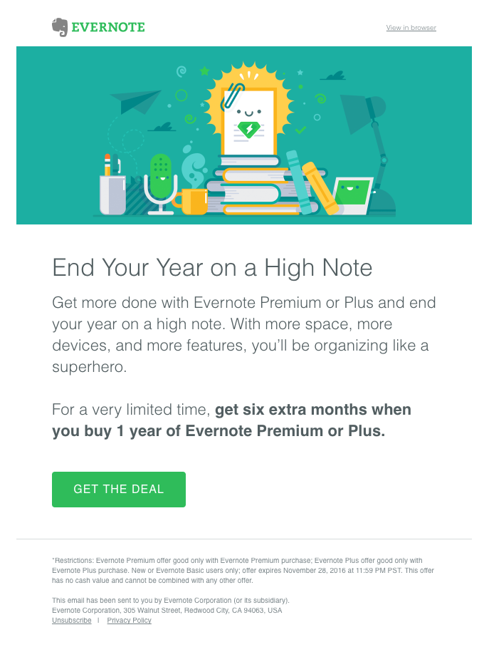 evernote offer discount email