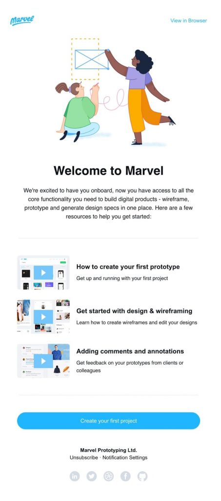 marvel onboarding email