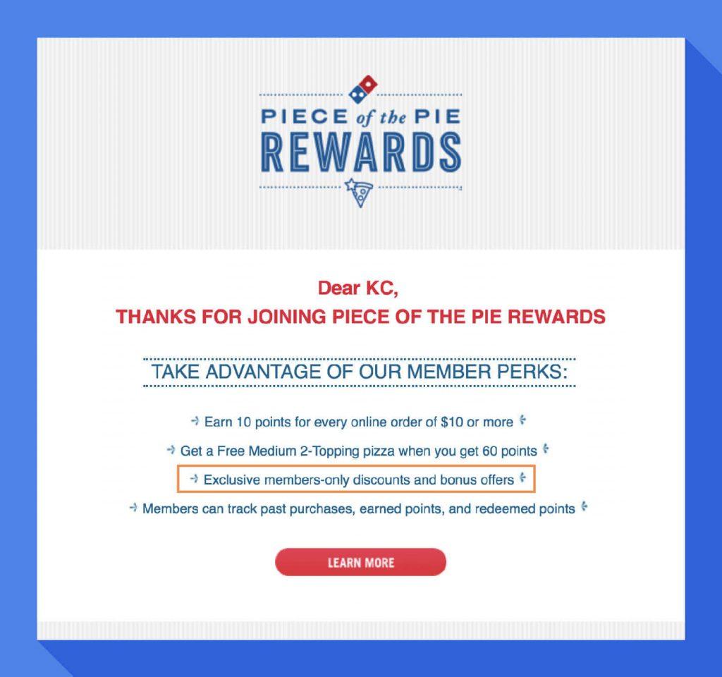 piece of the pie rewards email