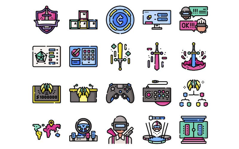 50 Free Esports Icons – Flat, Line and Linecolor (SVG & PNG)