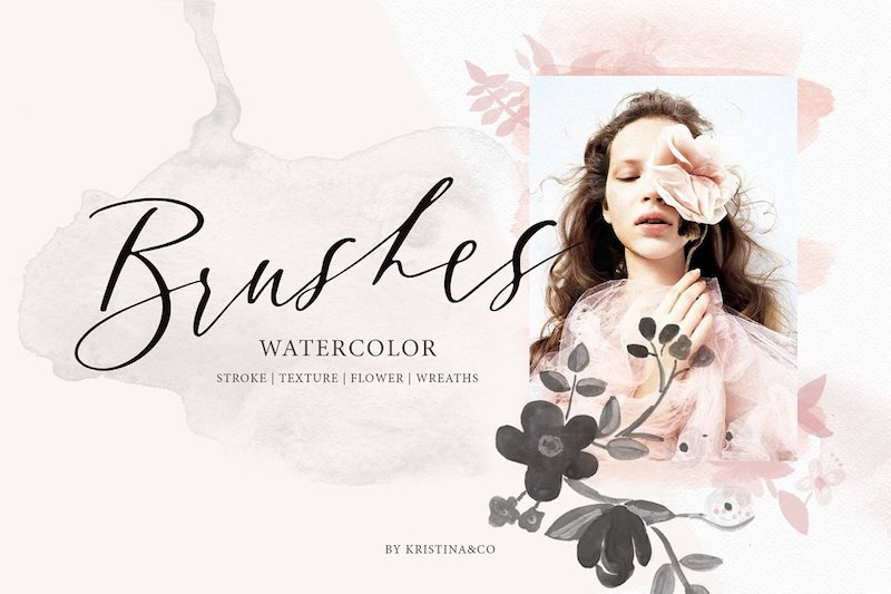 watercolor brushes stroke texture floral