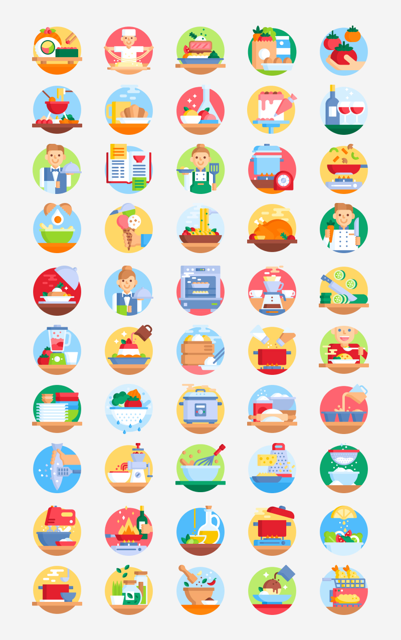 free gastronomy icons svg preview
