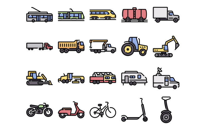 free transportation vehicle icons