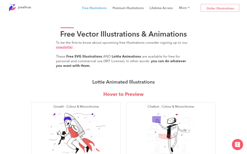 pixeltrue free mit licensed vector illustrations