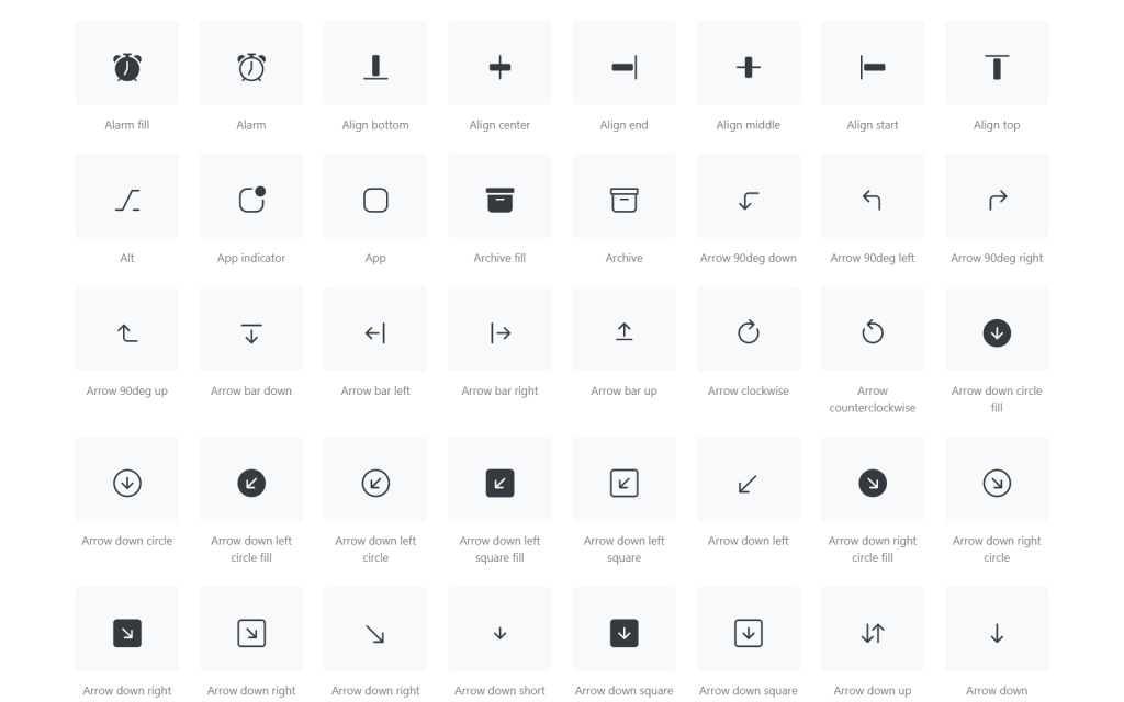 Boostrap icons library