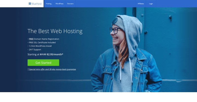 bluehost hosting home