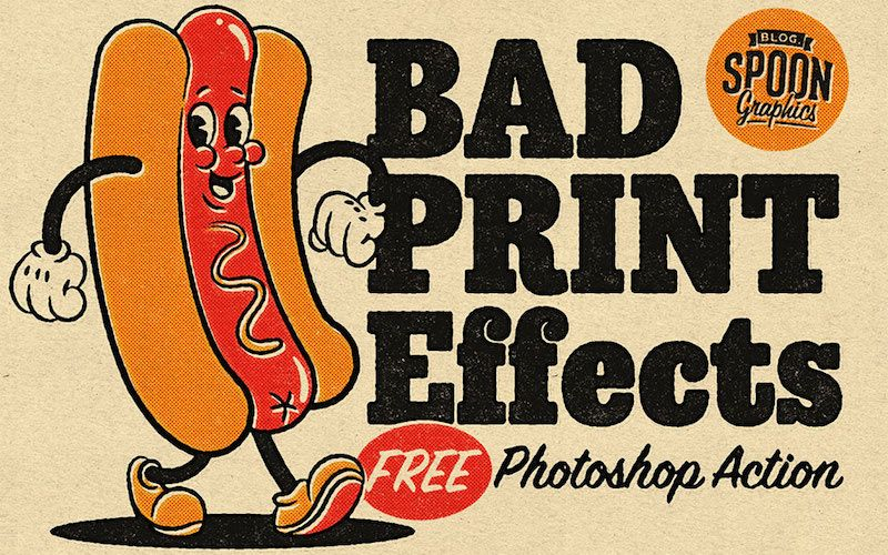 free retro print effects action photoshop