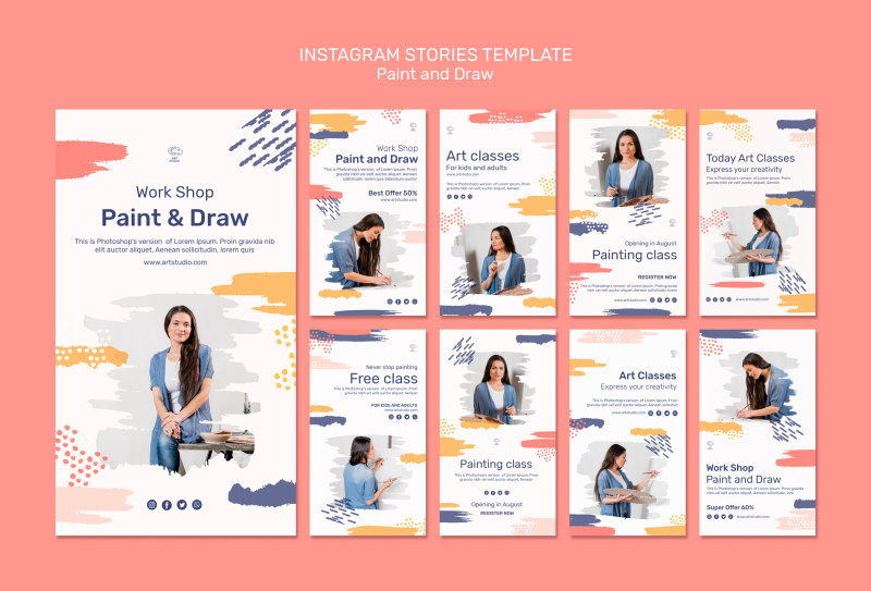 free paint draw instagram stories psd templates