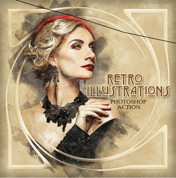 retro iIllustrations photoshop action