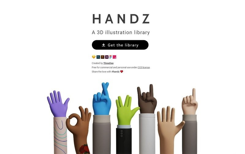 3D Hands gestures illustrations