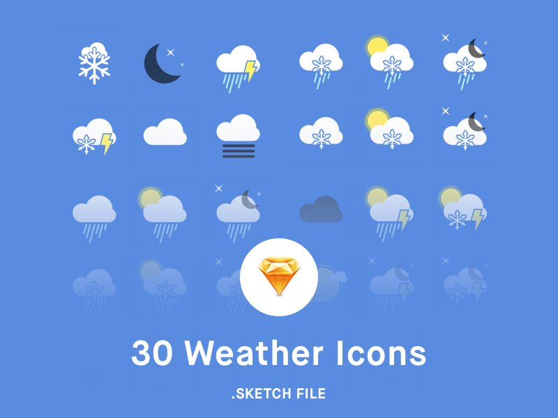 30 Weather Icons sketch