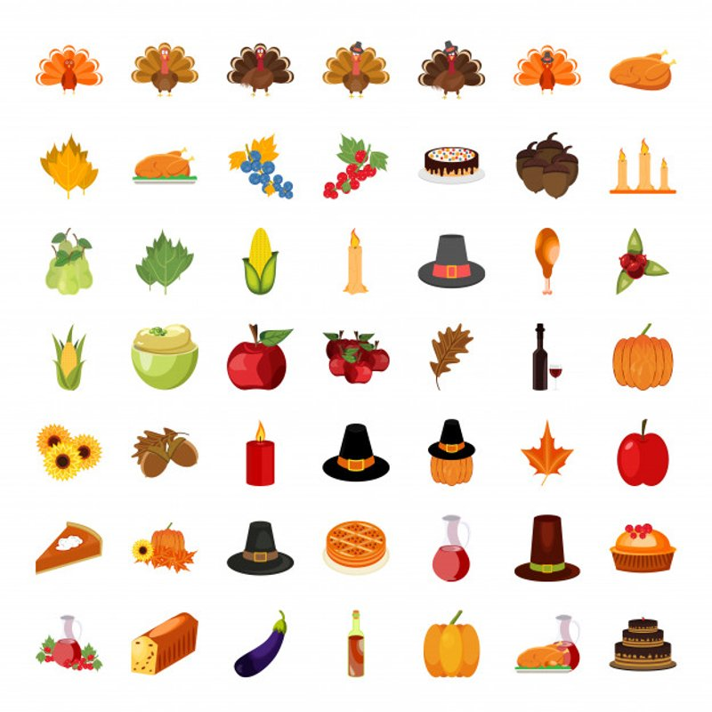 colorful thanksgiving icons