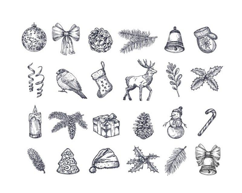 free handdrawn christmas icons