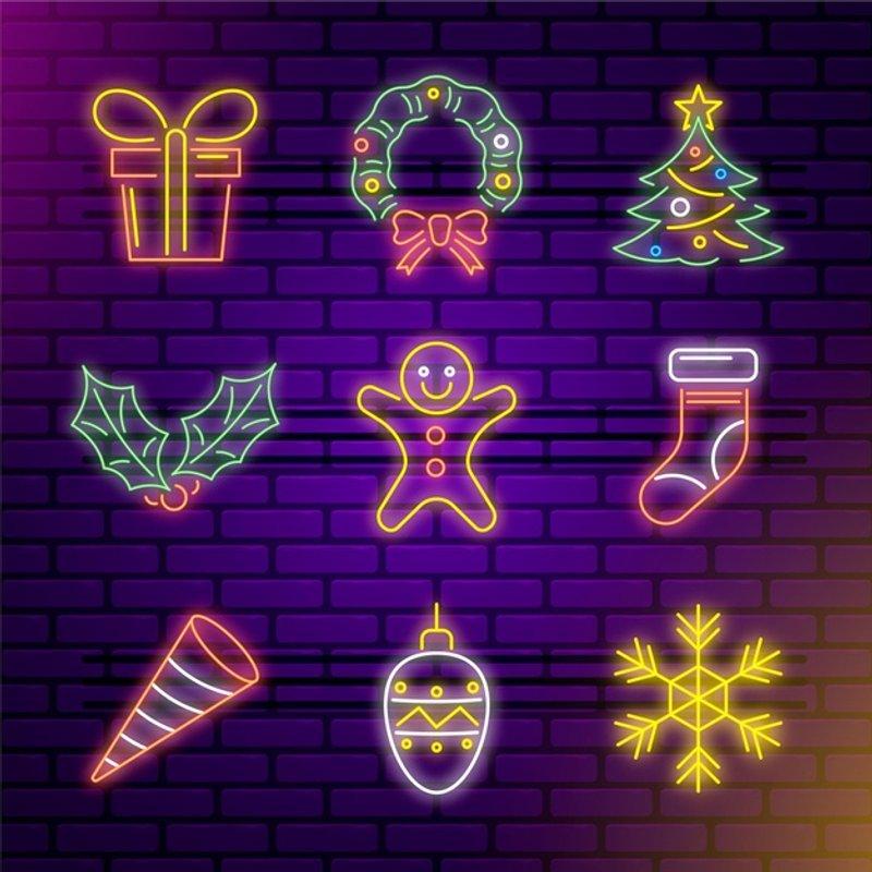 free neon christmas icons