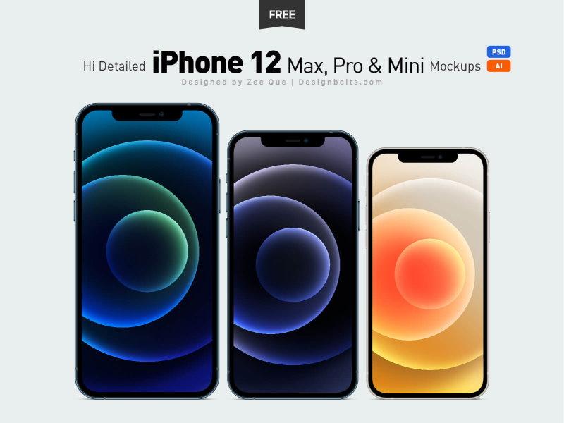 iPhone 12 Max Pro Mini Mockup PSD