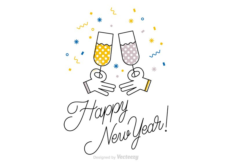 Free Happy New Year vector line art