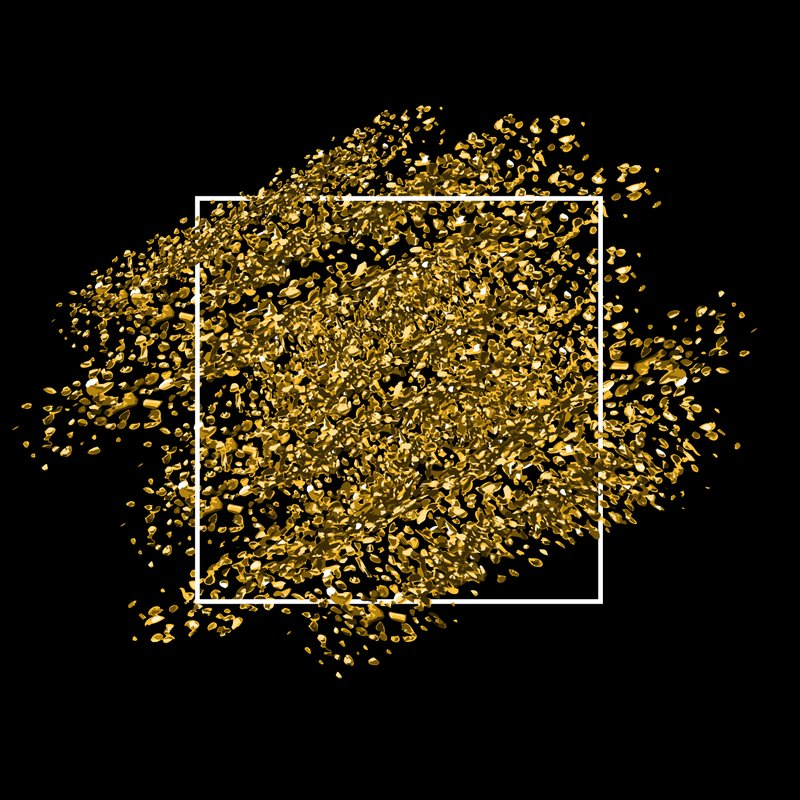 Gold glitter background with frame