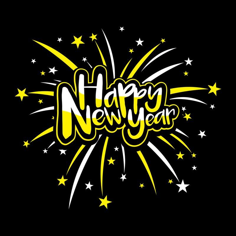 Happy New Year text vector