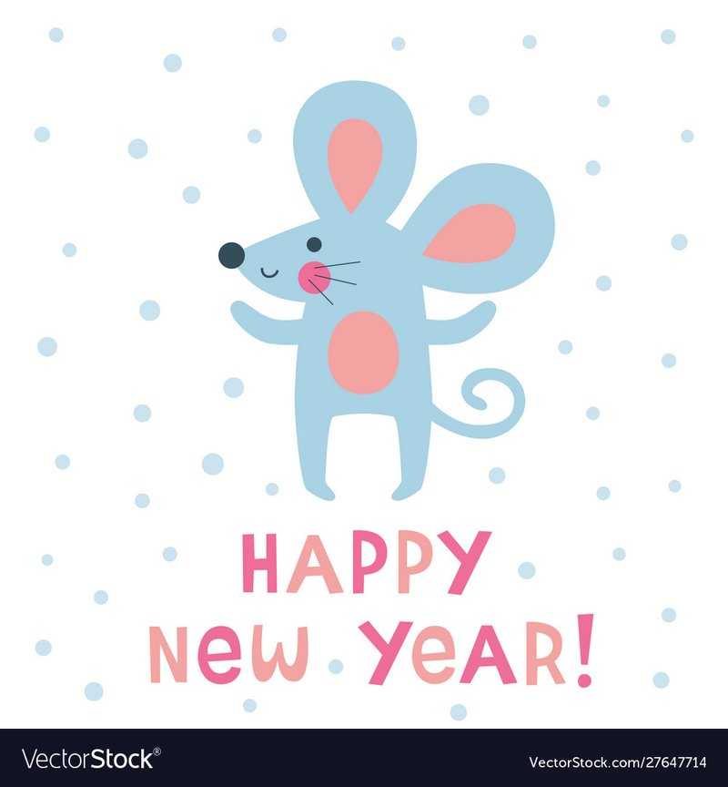 Happy new year greeting mouse