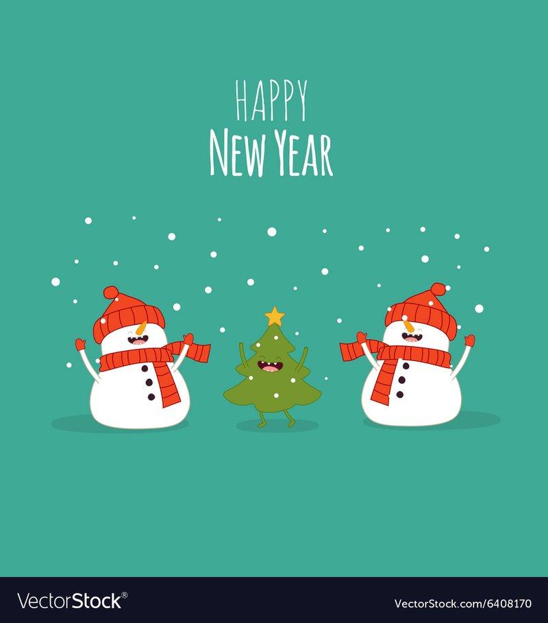 Happy newyear card snowman