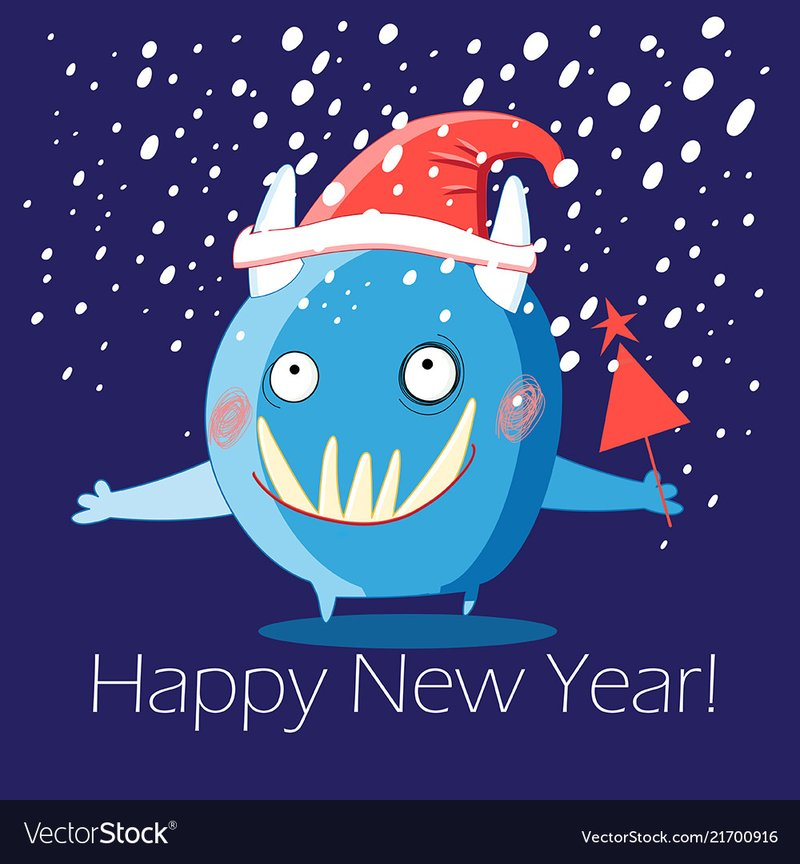New year greeting card monster