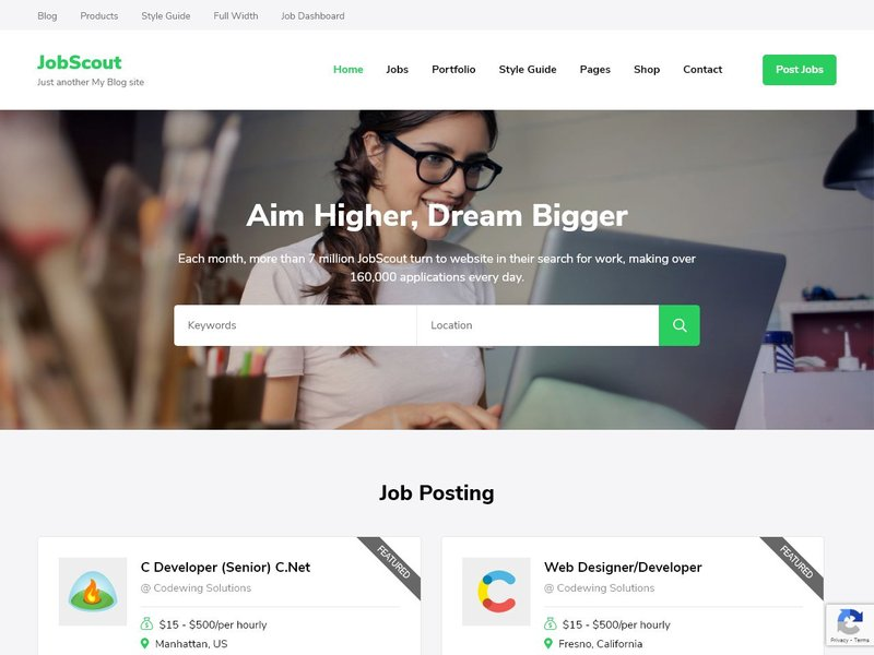 16 JobScout WordPress theme