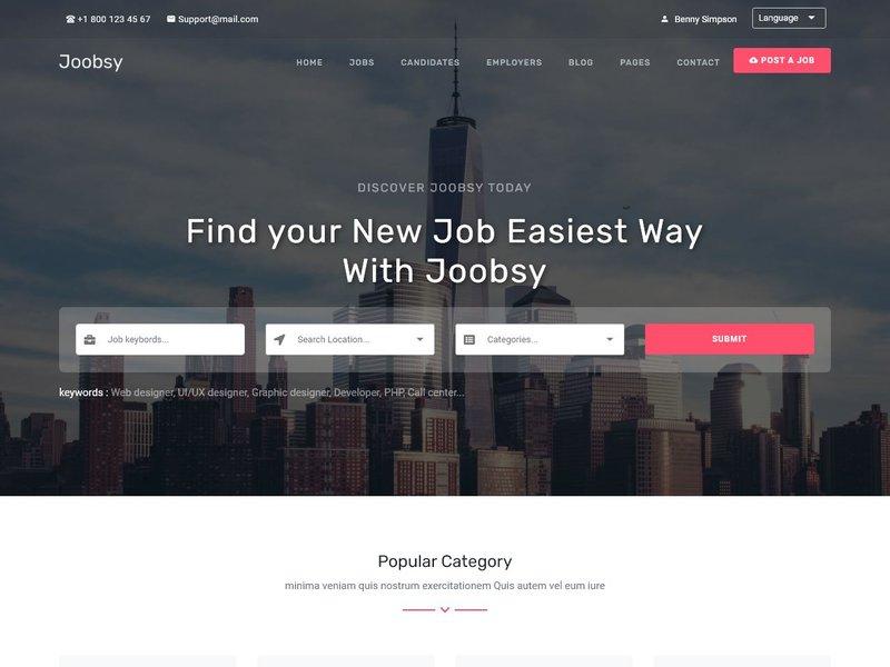 19 Joobsy Job Listing HTML5