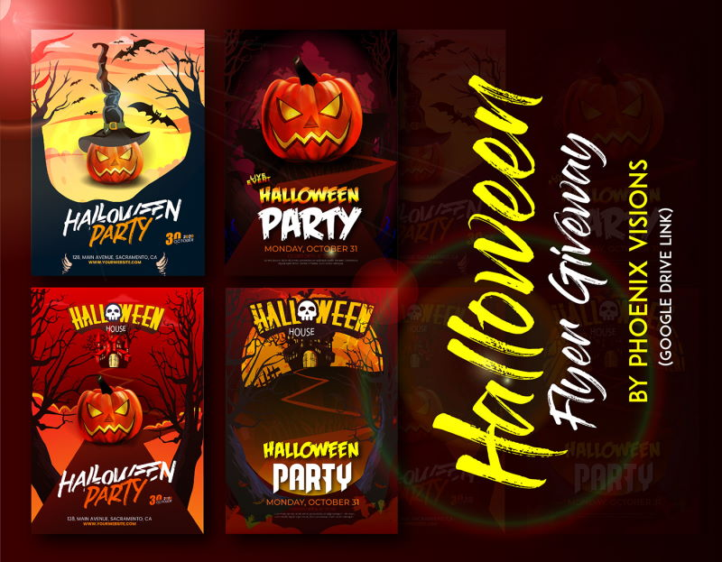4 free halloween flyers eps bundle