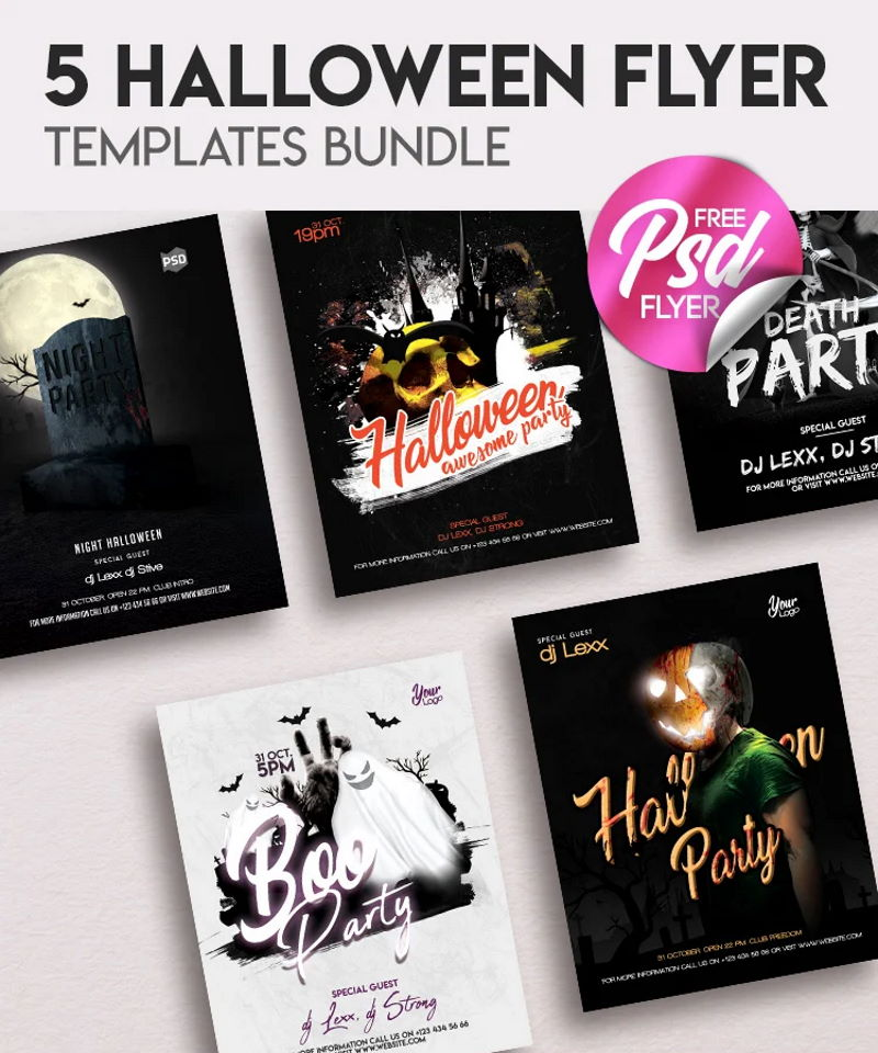 free halloween flyer bundle
