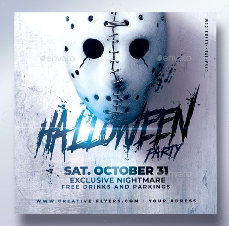 minimal white Halloween Flyer