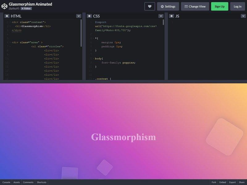 Glassmorphism Animated