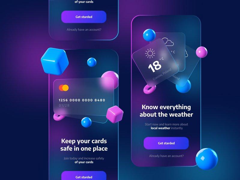 Glassmorphism App Onboarding Screens