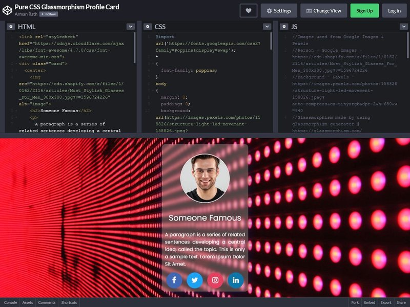 Pure CSS Glassmorphism Profile