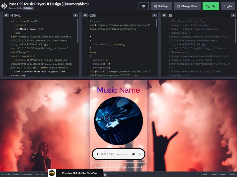 Pure CSS Music Player