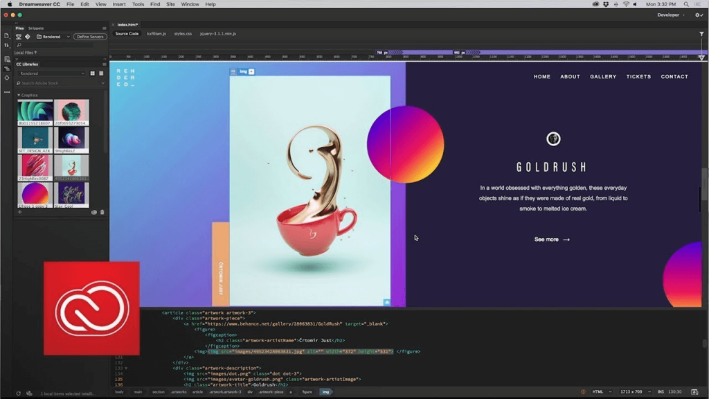 Adobe Dreamweaver app example of work