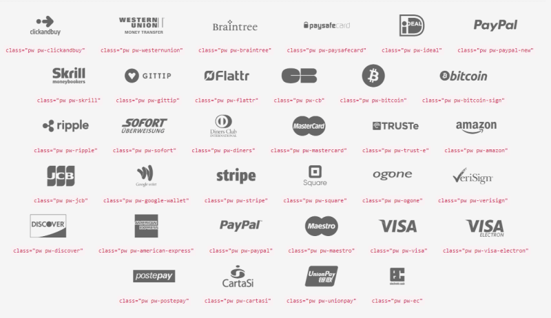 free payment webfont icons