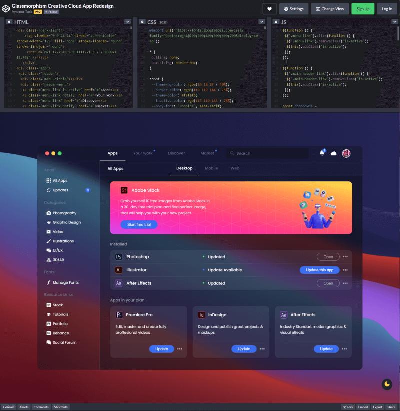 Glassmorphism Creative Cloud App Redesign