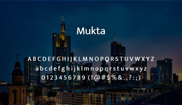 mukta sans serif font