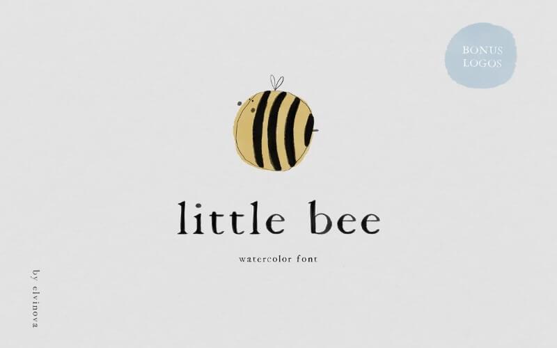 little bee kids watercolor font